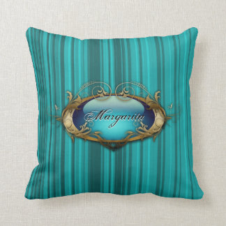 Aqua stripes personalized American MoJo Pillow Cushions