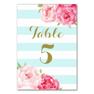 Aqua Stripes Pink Floral Wedding Table Number Card