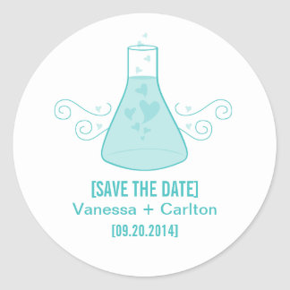 Aqua Sweet Chemistry Save the Date Stickers