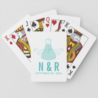 Aqua Sweet Chemistry Wedding Playing Cards