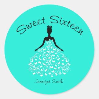 Aqua Sweet Sixteen Butterfly Gown Envelope Seals Round Sticker