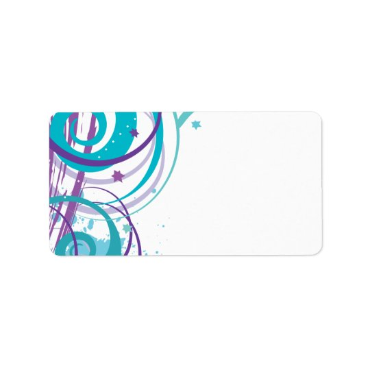 AQUA SWIRLS & STARS Bat Mitzvah Invitation Address Label
