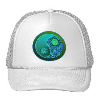 Aqua Swirls Yin Yang Cap