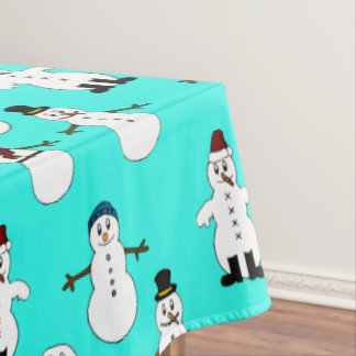Aqua Tablecloth white cute snowman Christmas