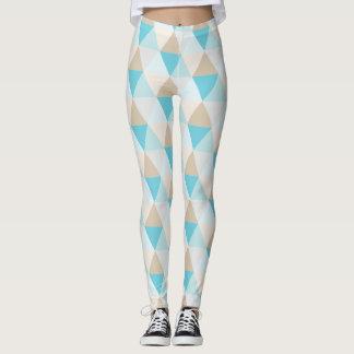 Aqua tan trendy triangle pattern leggings