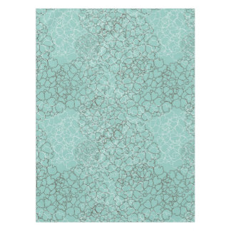 Aqua Teal Abstract Floral Pattern Tablecloth