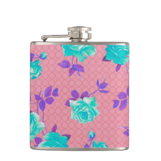 Aqua Teal and pink Floral Print Hip Flask