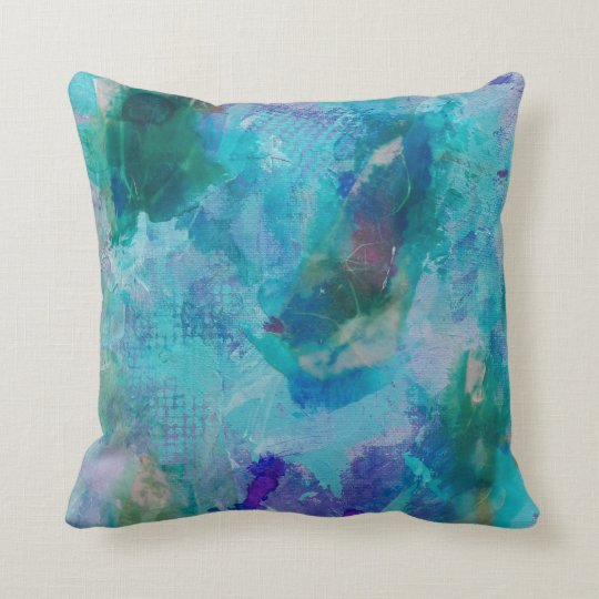 Aqua teal and purple abstract throw pillow