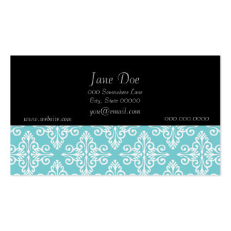 Aqua Teal and White Damask Business Card
