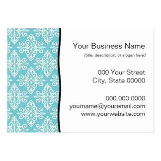 Aqua Teal and White Damask Business Card Template