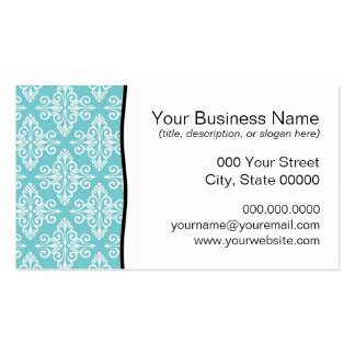Aqua Teal and White Damask Business Card Templates