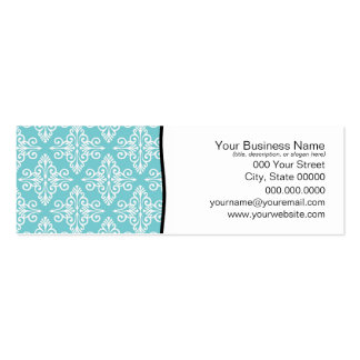 Aqua Teal and White Damask Business Cards