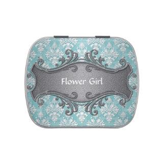 Aqua Teal and White Damask Wedding Flower Girl Candy Tins