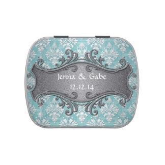 Aqua Teal and White Damask Wedding Candy Tins
