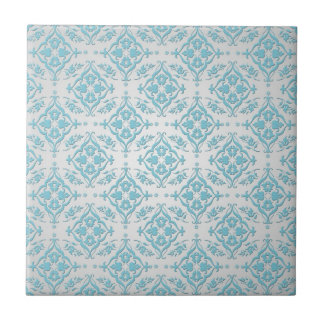 Aqua Teal Blue and Silver Damask Small Square Tile