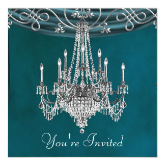 Aqua Teal Blue Chandelier Party Invitations