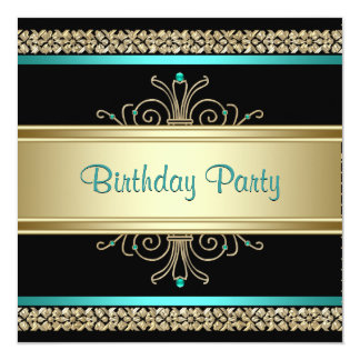 Aqua Teal Blue Gold Black Womans Birthday Party 13 Cm X 13 Cm Square Invitation Card