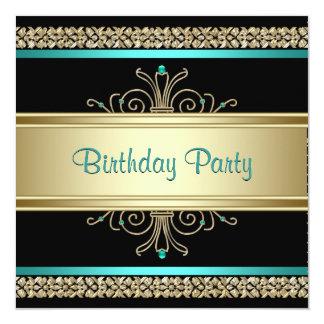 Aqua Teal Blue Gold Black Womans Birthday Party 13 Cm X 13 Cm Square Invitation Card