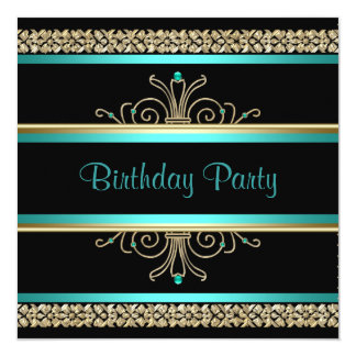 Aqua Teal Blue Gold Black Womans Birthday Party Card