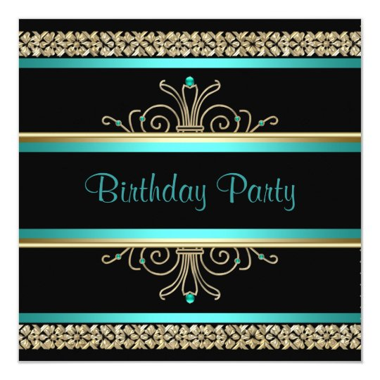 Aqua Teal Blue Gold Black Womans Birthday Party