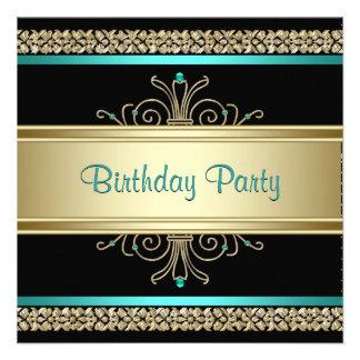 Aqua Teal Blue Gold Black Womans Birthday Party Custom Invites