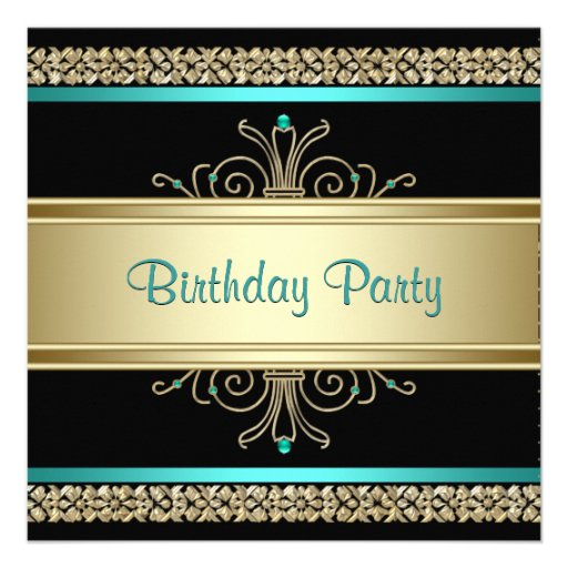 Aqua Teal Blue Gold Black Womans Birthday Party Custom Invites