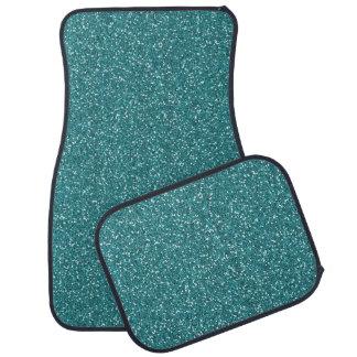 Aqua Teal Blue Green Sparkle Glitter Custom Floor Floor Mat