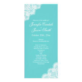 Aqua Teal Blue Lace Edge Vertical Wedding Programs Personalized Rack Card