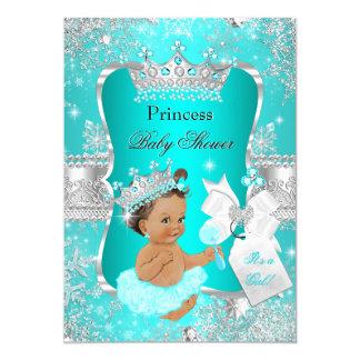 Aqua Teal Blue Princess Baby Shower Brunette 13 Cm X 18 Cm Invitation Card