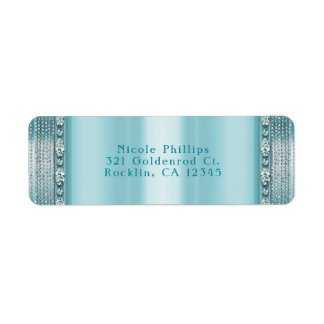 Aqua Teal Blue & Silver Diamond Bling Invitation Return Address Label