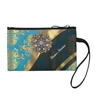 Aqua teal blue vintage damask pattern coin purse