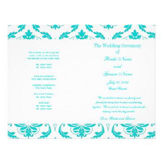 Aqua Teal Blue Vintage Damask Wedding Program 21.5 Cm X 28 Cm Flyer
