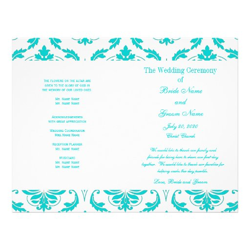 Aqua Teal Blue Vintage Damask Wedding Program Flyer Design