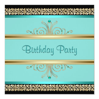 Aqua Teal Blue Womans Black Gold Birthday Party 13 Cm X 13 Cm Square Invitation Card