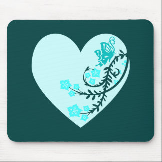 Aqua Teal Butterfly Heart Mouse Mat