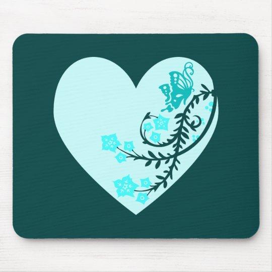 Aqua Teal Butterfly Heart Mouse Mat