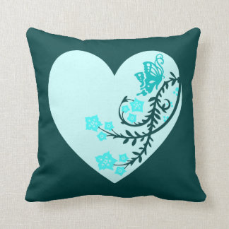Aqua Teal Butterfly Heart Throw Cushion