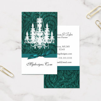 aqua teal damask chandelier Chic Business Cards
