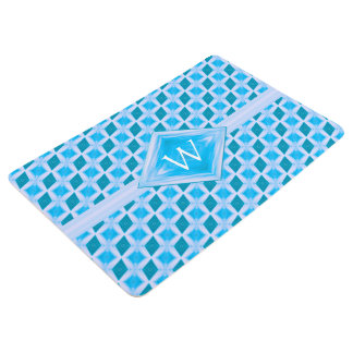 Aqua Teal Diamond Ice Pattern Monogram Floor Mat