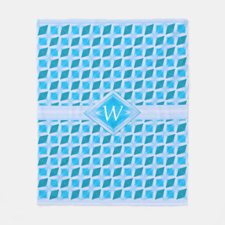 Aqua Teal Icy Diamond Pattern Monogram Fleece Blanket