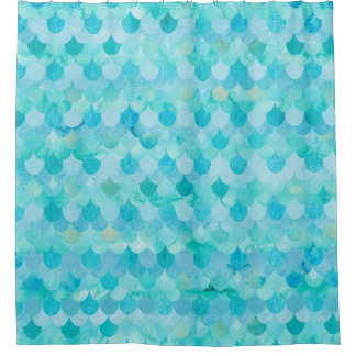 Aqua Teal Mermaid Scales Fish Scales Pattern Shower Curtain