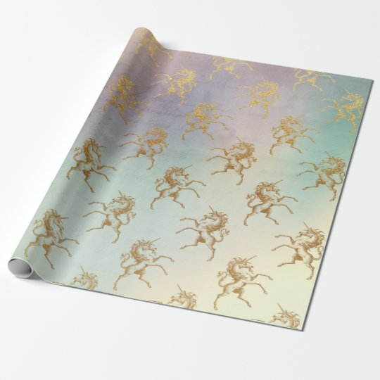 Aqua Teal Mint Pastel Ombre Purple Gold Unicorn