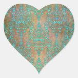 Aqua Teal over Brown Vintage Damask Design Heart Sticker