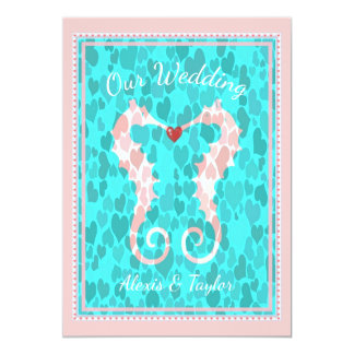 Aqua Teal & Pink Whimsy Seahorse Couple Wedding Card