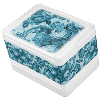 Aqua Teal Sea Ocean Blue Vintage Floral Toile No.5 Igloo Cooler