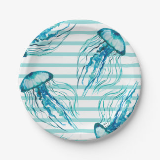 Aqua Teal Stripes Watercolor Jellyfish 7 Inch Paper Plate