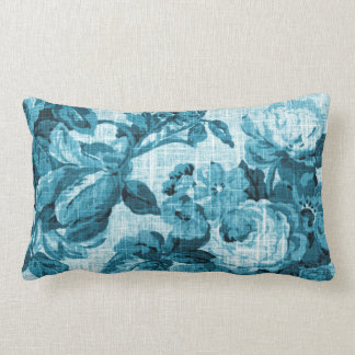 Aqua Teal Turquoise Blue Floral Toile Fabric No.5 Lumbar Cushion