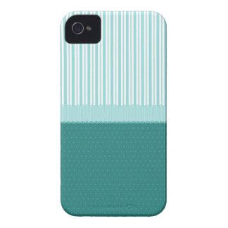 Aqua Teal Turquoise Blue Stripes Polka Dots iPhone 4 Case-Mate Cases