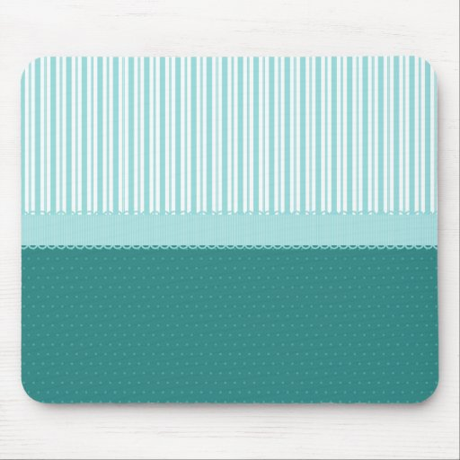 Aqua Teal Turquoise Blue Stripes Polka Dots Mouse Pads