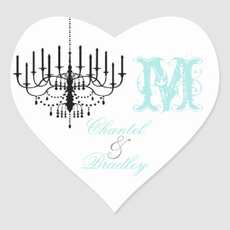 Aqua Text Black Chandelier Monogram Custom Sticker